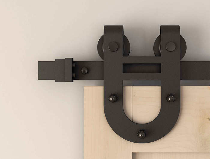 U-shaped barn door hardware