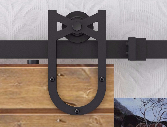 U-shaped single wheel barn door hardware