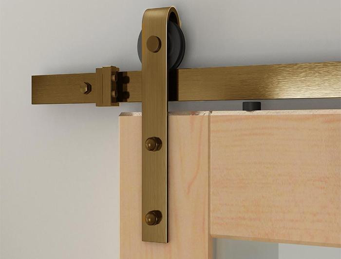 J shaped golden color sliding barn door hardware